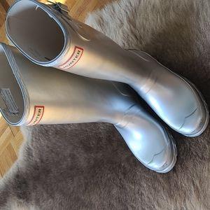 Hunter long boots rain metalic silver